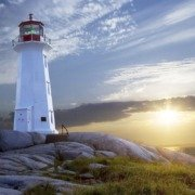 Sunset at Peggys Cove Lighthouse in Nova Scotia